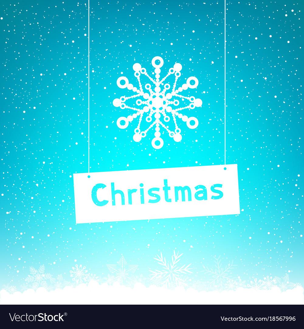 Blue winter christmas text snowflake
