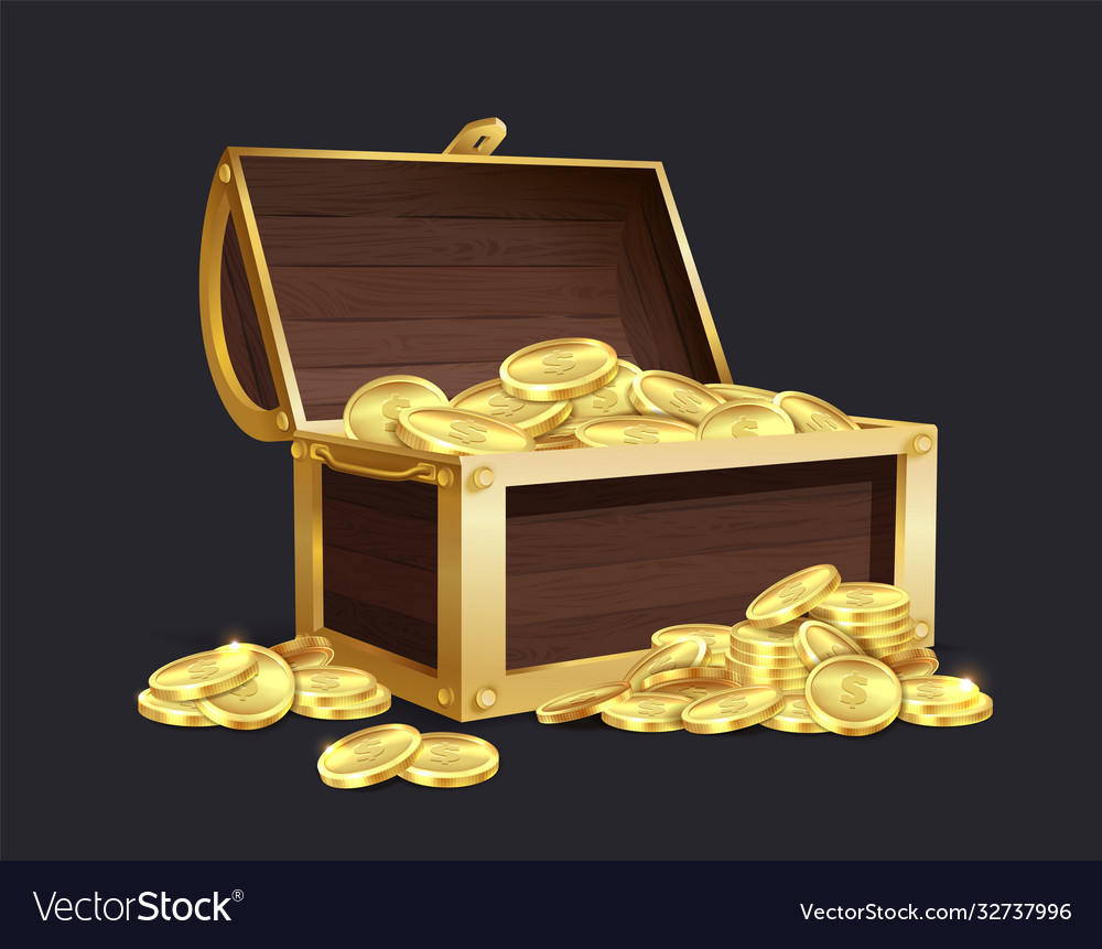 Chest gold coin closed and open