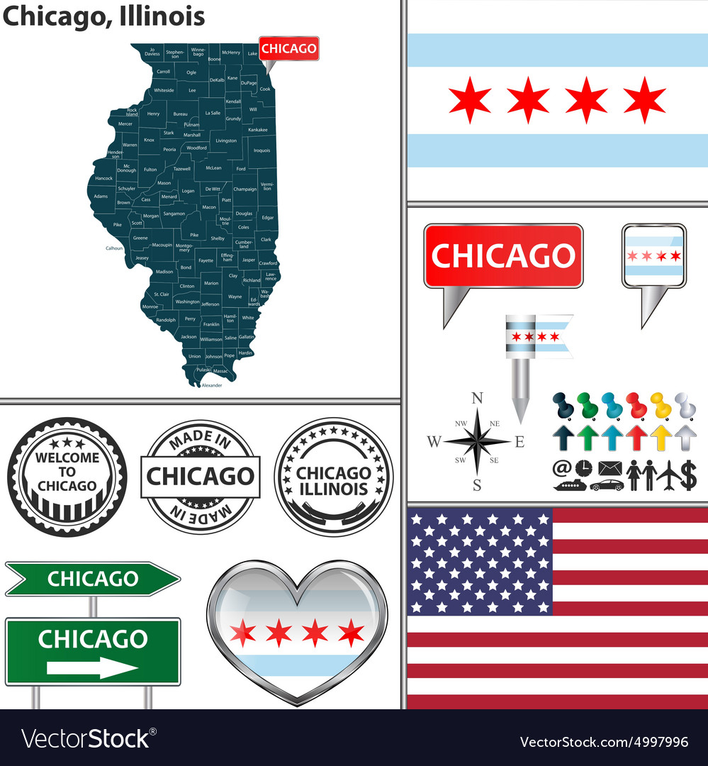 Chicago Illinois set vector image