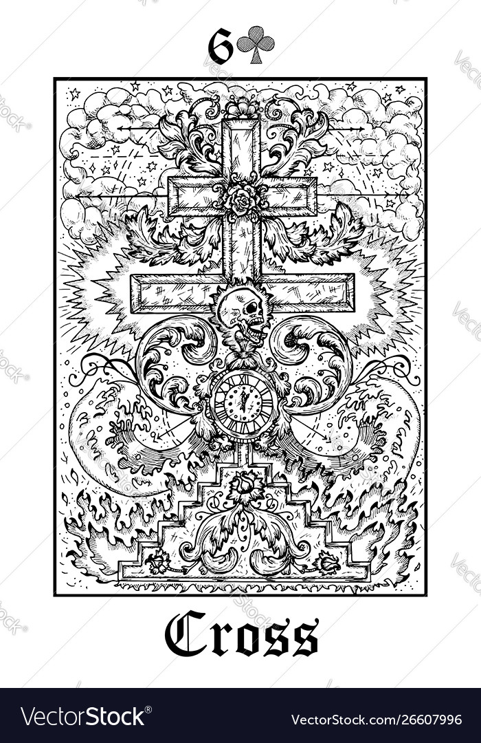 Cross and skull tarot card from lenormand gothic