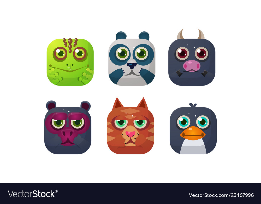 Cute animals set square app icons assets for gui