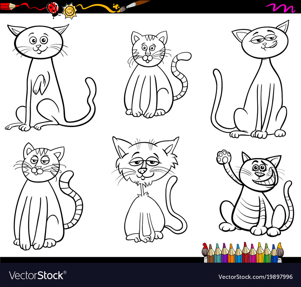 Funny cats characters coloring book Royalty Free Vector