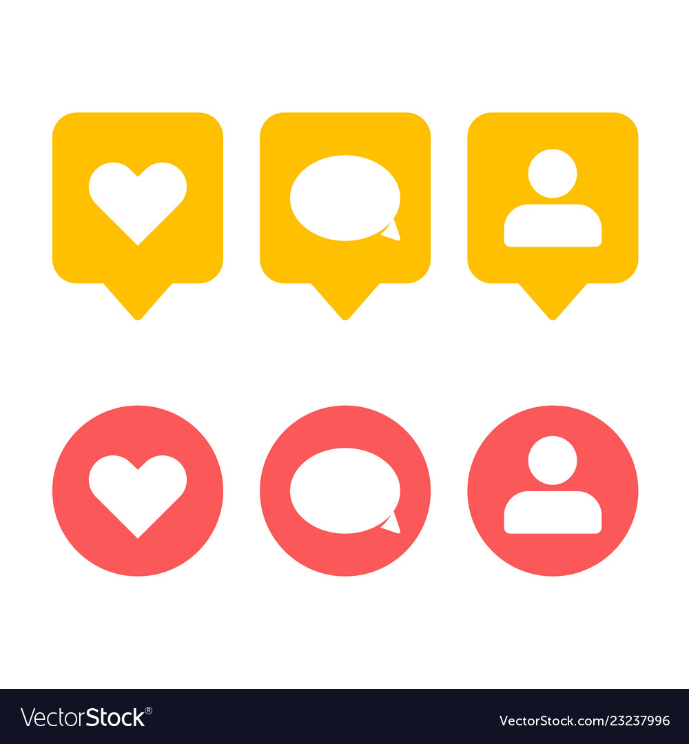 Like follower comment icons