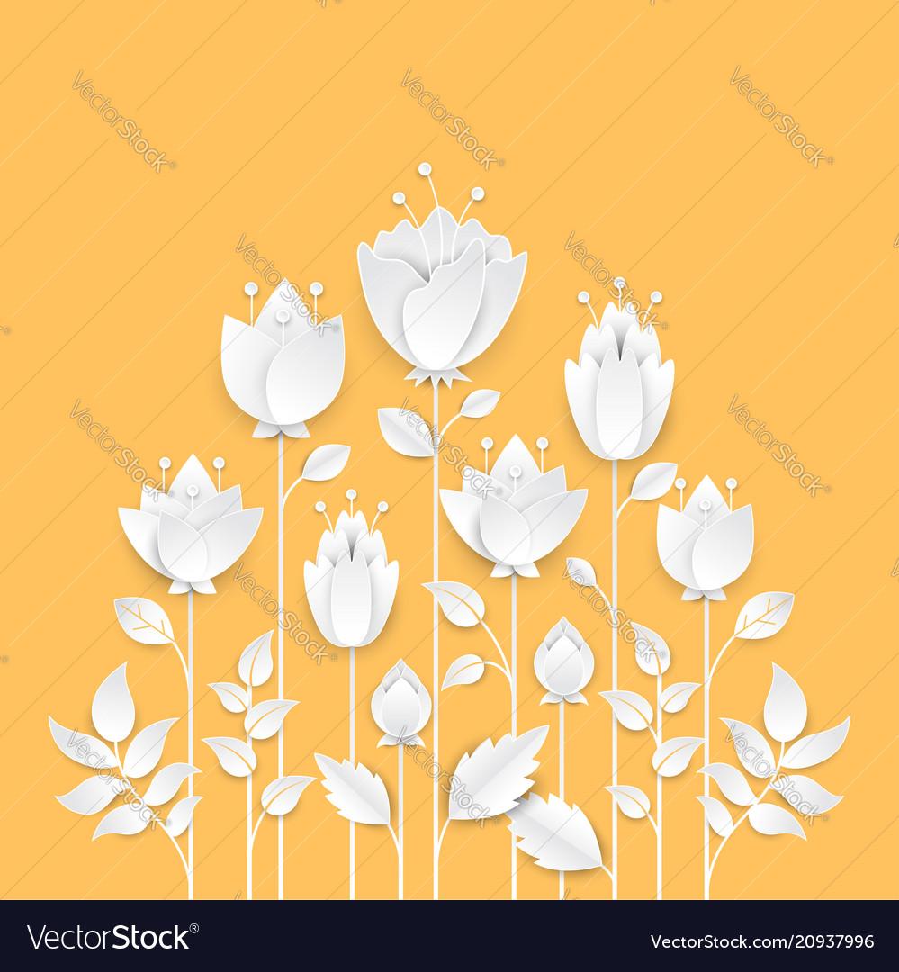 Paper cut growing flowers - modern colorful
