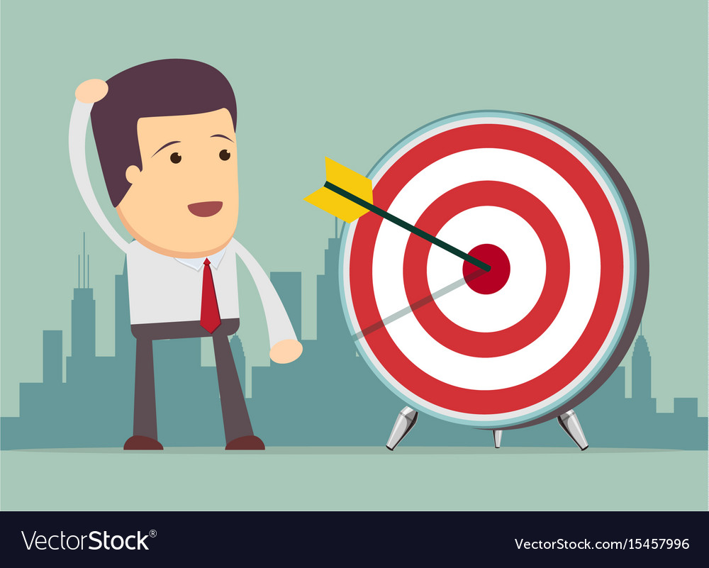 Successful businessman aiming target