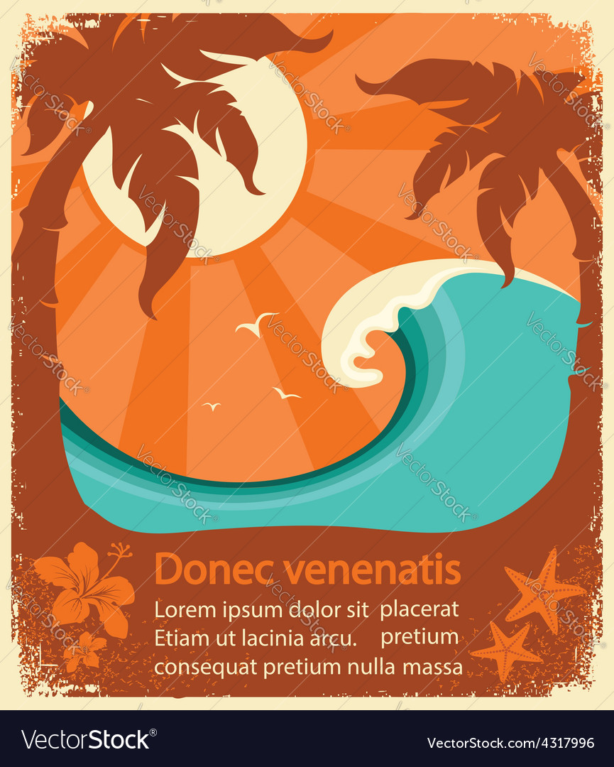 Tropical paradise retro poster