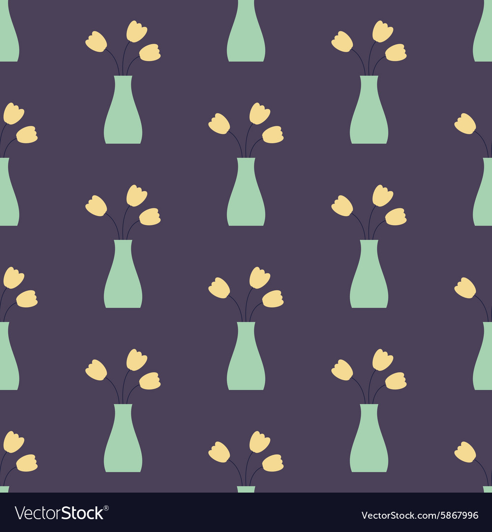 Vase with flowers seamless vintage pattern