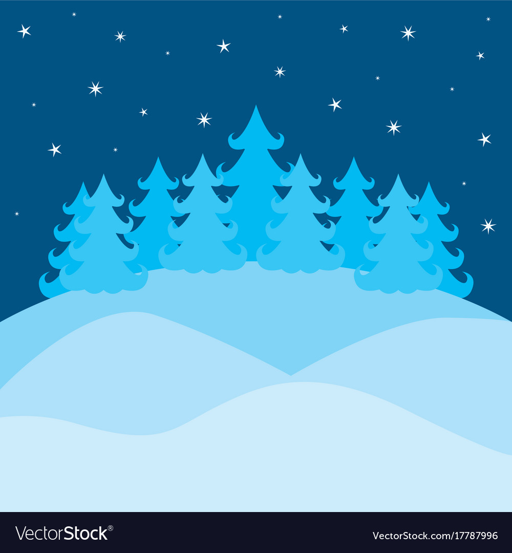 Winter landscape with pines and sky with stars on