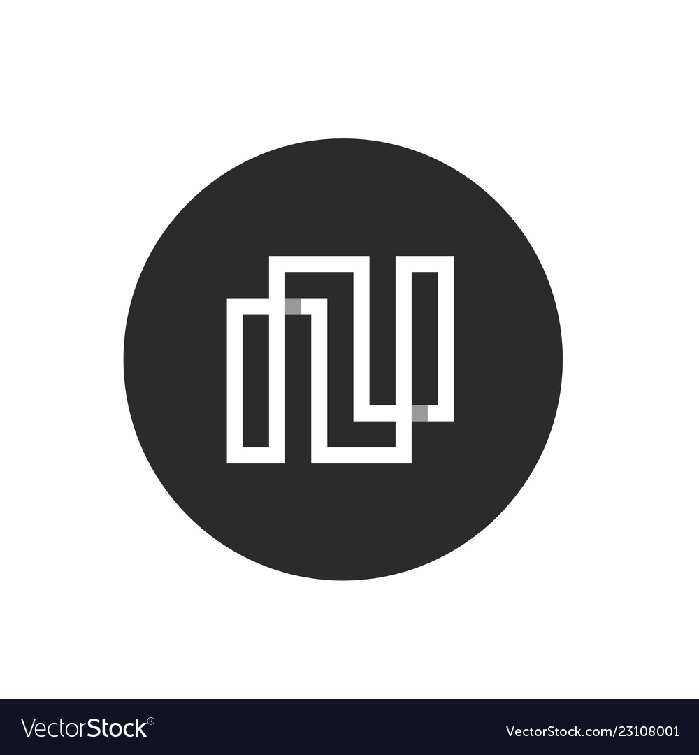 Abstract letter n logo icon with black circle