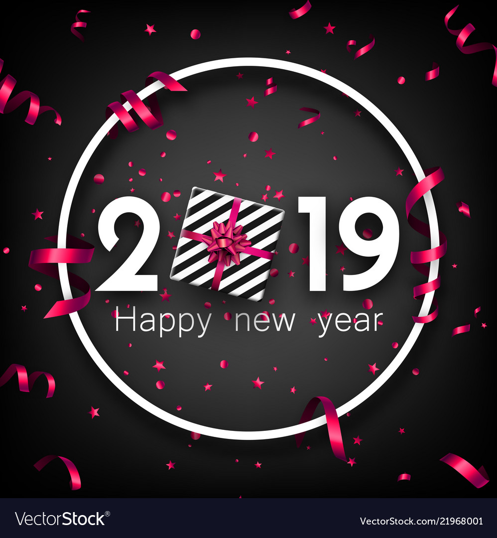 black 2019 happy new year card with pink top view vector image