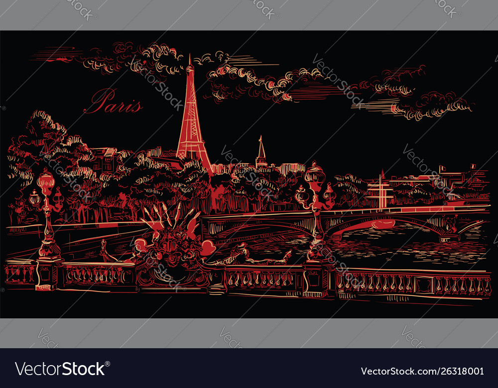 Black and red hand drawing paris 8