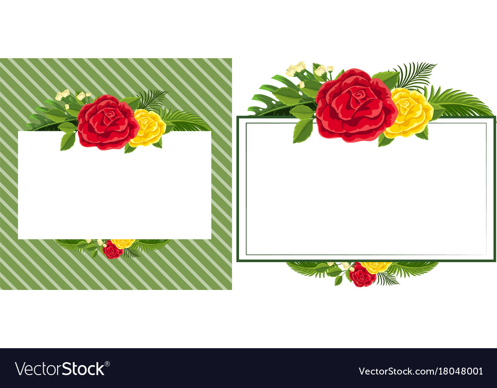 border template with red and yellow roses vector image