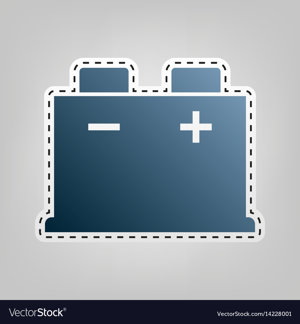 Car battery sign blue icon with outline