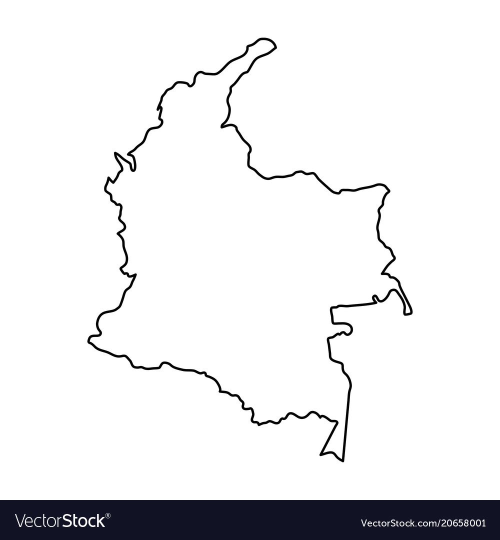 Colombia Map Outline Black