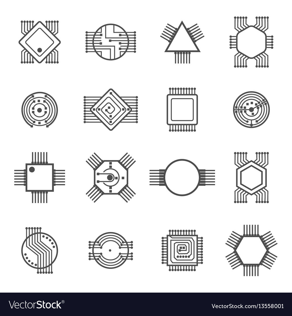Computer chip icons electronic circuit and