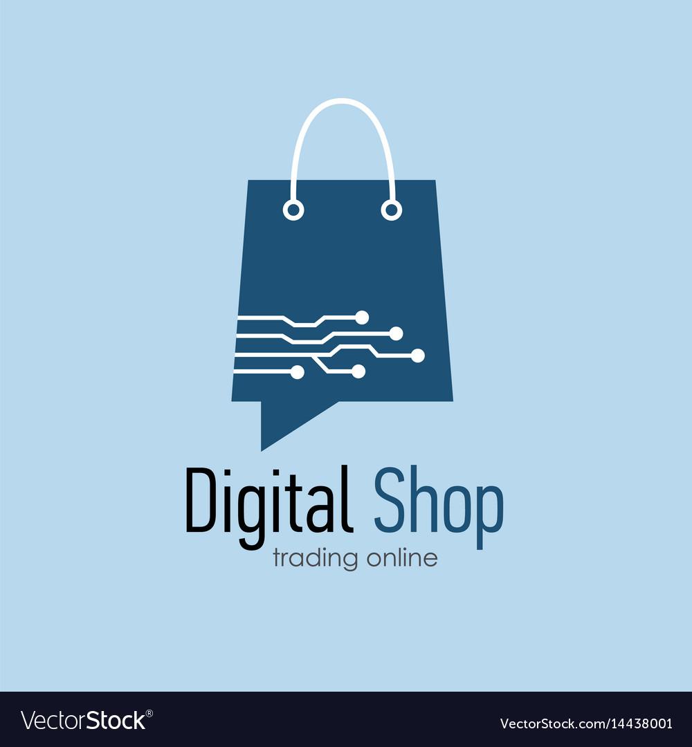Digital Shop Logo Design Template Royalty Free Vector Image