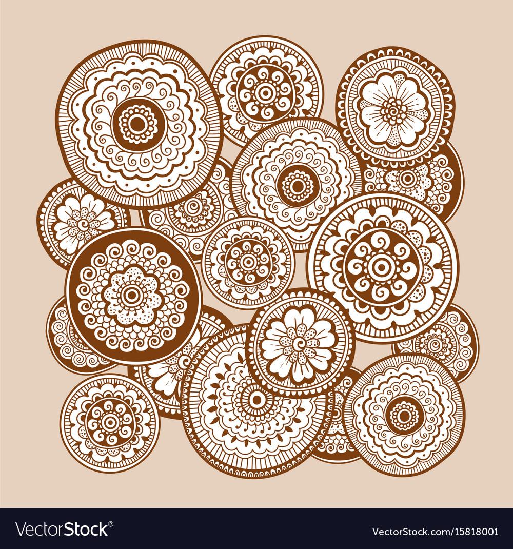 Ethnic henna mehndi ornament indian background vector image