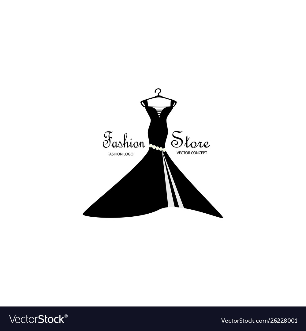 Fashion Store Logo Design With Dress On Hanger Vector Image