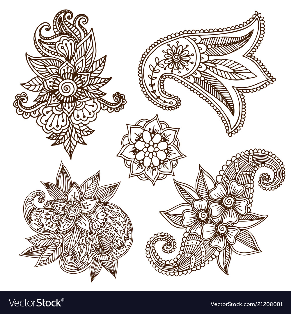 Henna tattoo mehndi flower doodle ornamental