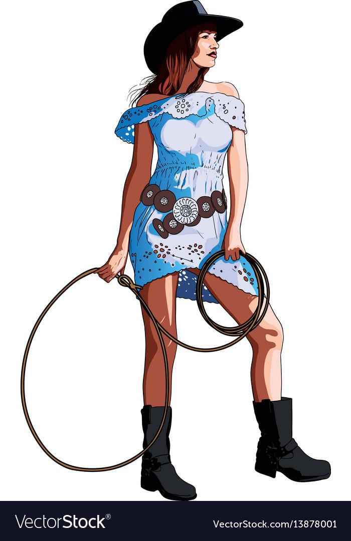Long-legged girl cowboy vector image