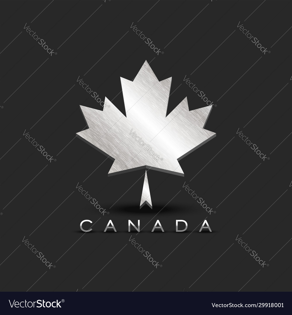 Metallic maple leaf emblem canada with 3d vector