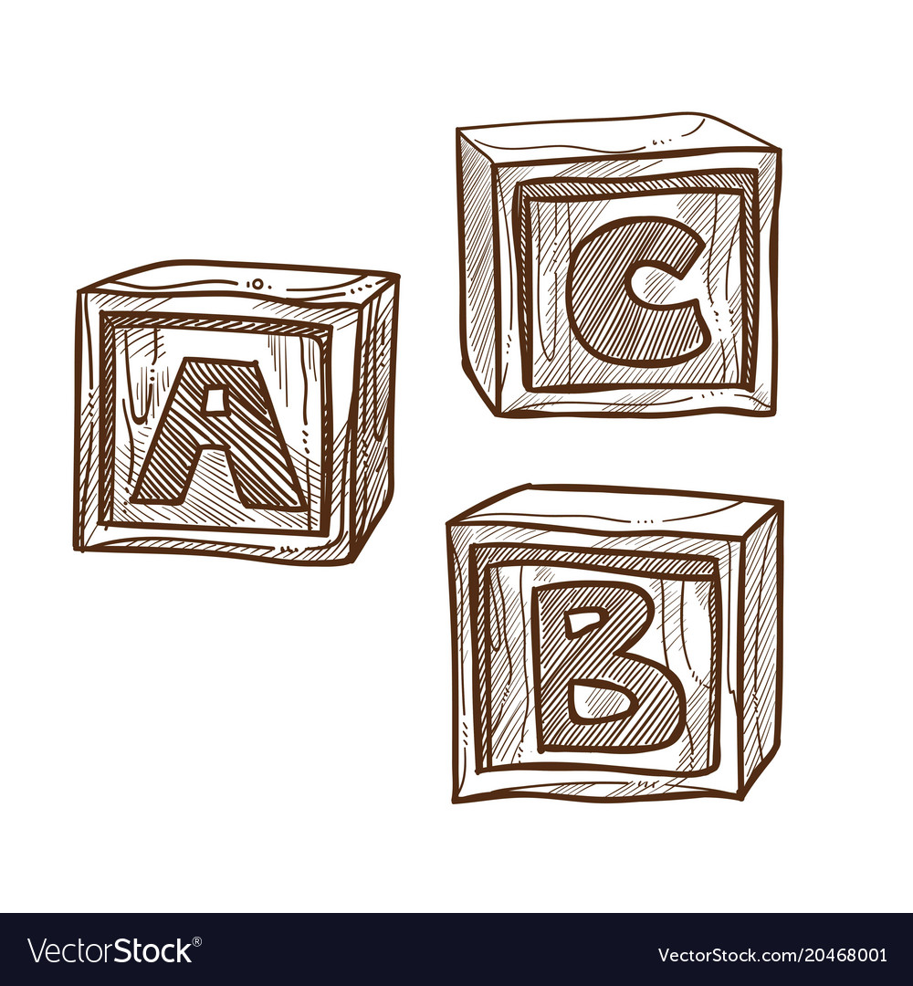 Retro wooden cubes with abc on side monochrome