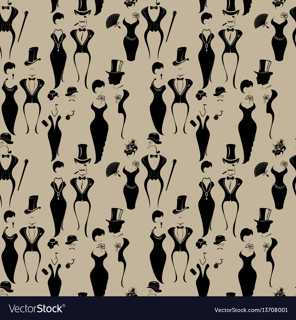 Seamless pattern with gentleman and lady symbols vector image