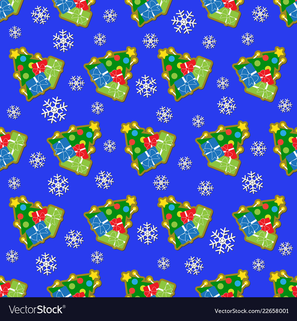Seamless wrapping paper and colored christmas tree