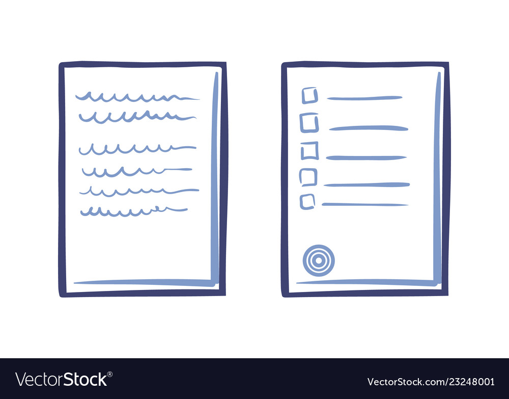 Tips or list on sheet of paper contract text stamp
