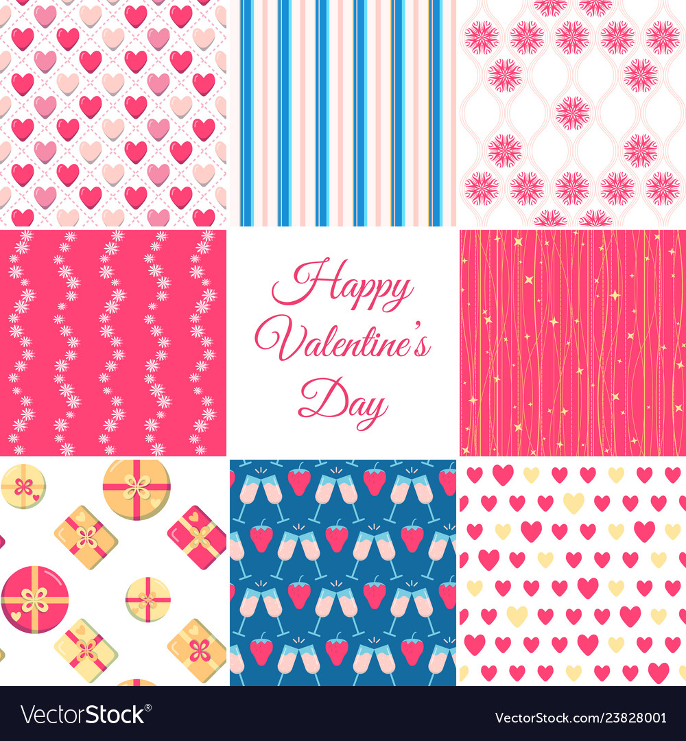 Valentines day seamless patterns collection in