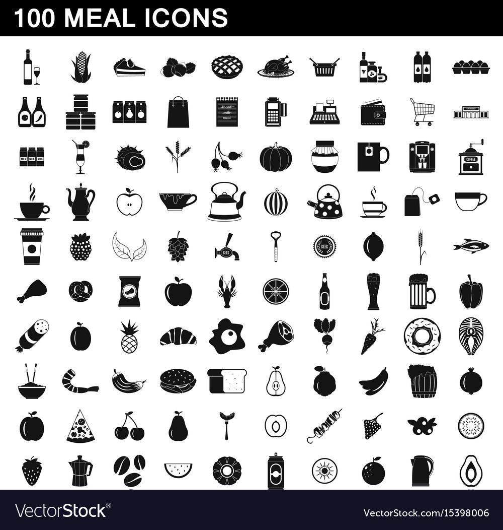 100 meal icons set simple style