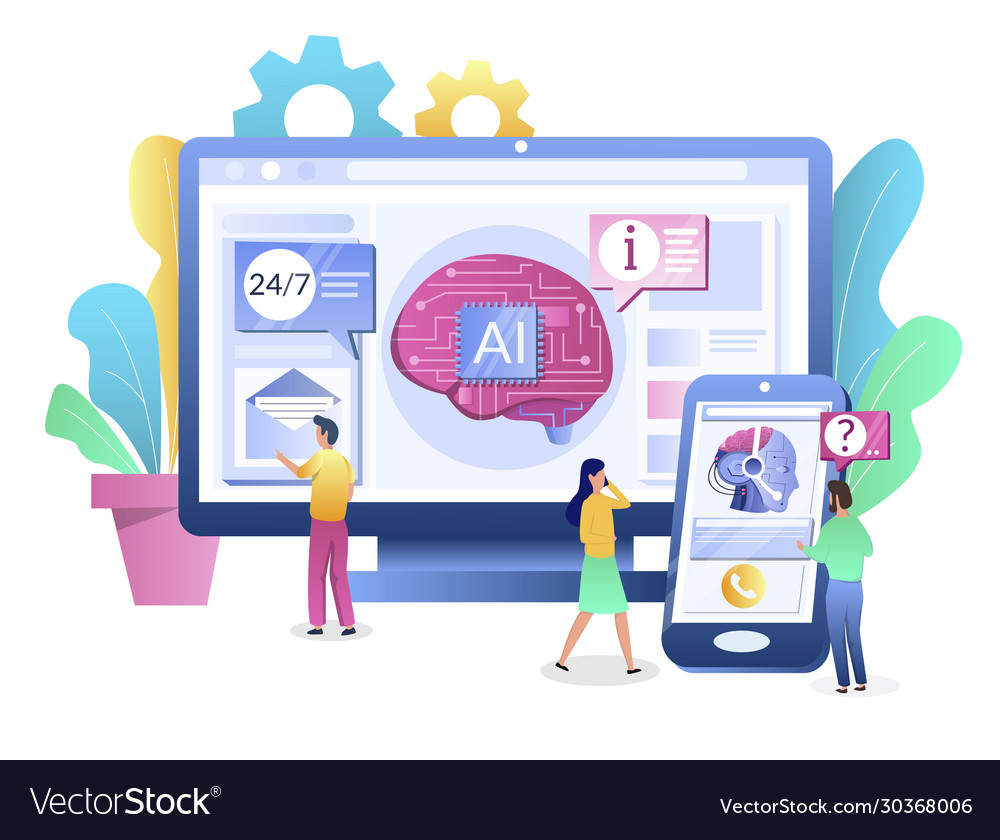 Ai chatbot consultant concept flat style