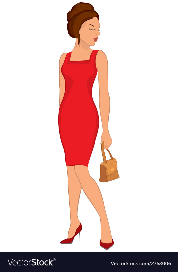 Young Women in Dresses Cartoon