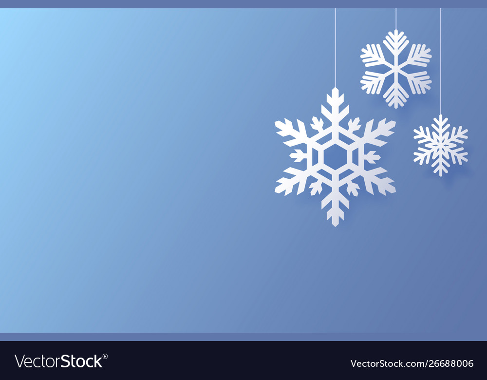 Christmas poster with white snowflakes on a blue