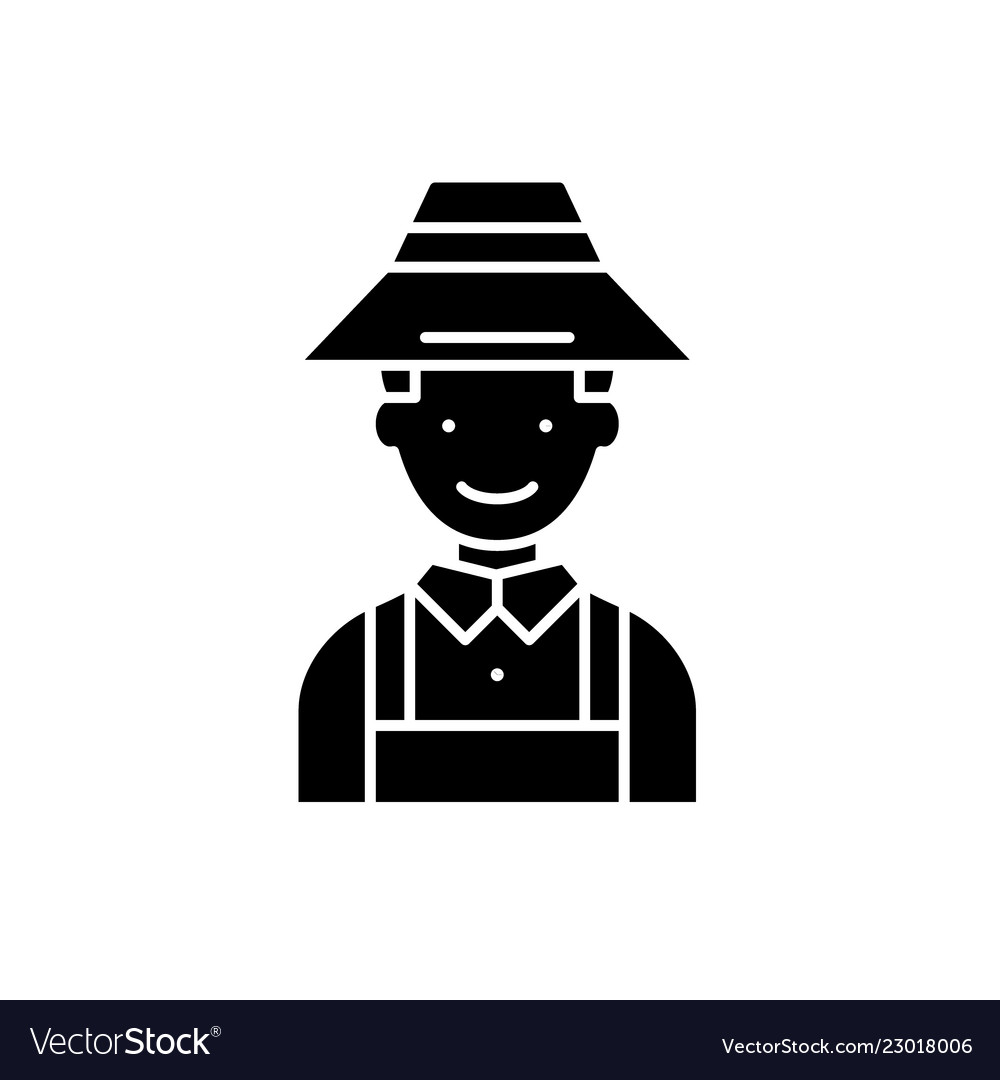 Farmer black icon sign on isolated