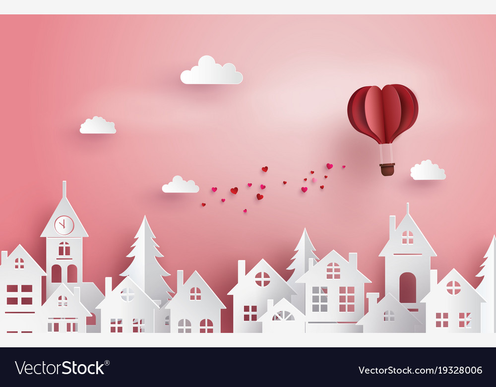 Love and valentine daypaper hot air balloon heart