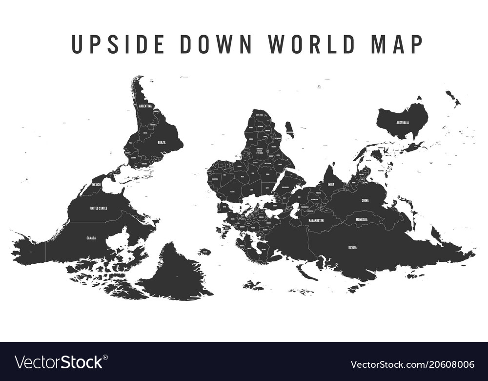 Reversed Or Upside Down Political Map Of World Vector Image