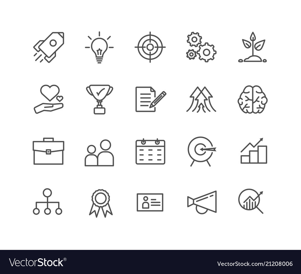 Simple set of start up thin line icons editable