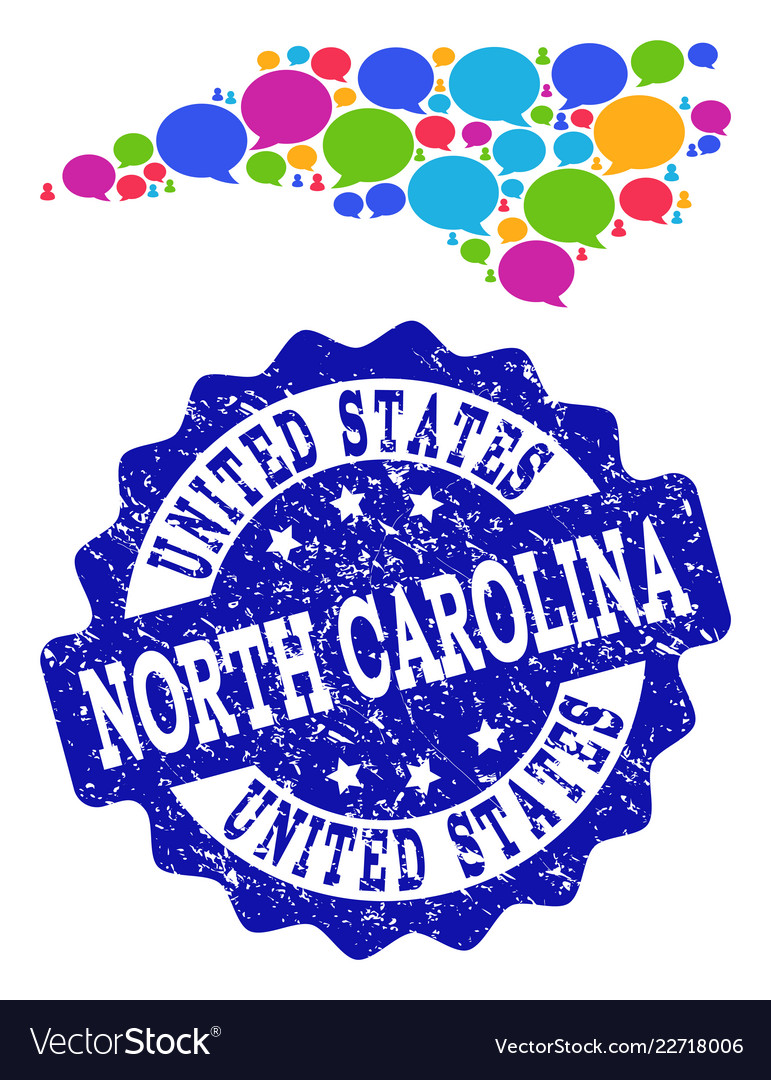 Social network map of north carolina state with Vector Image