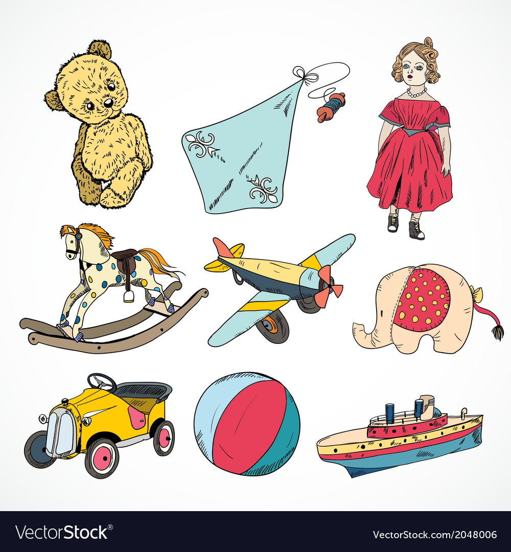 Toys colored sketch icons set vector image