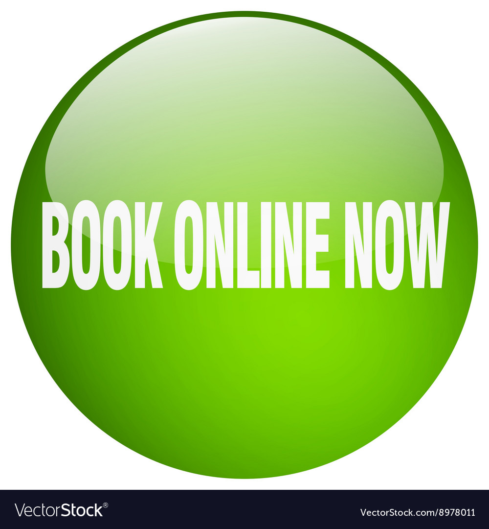 Book online now green round gel isolated push