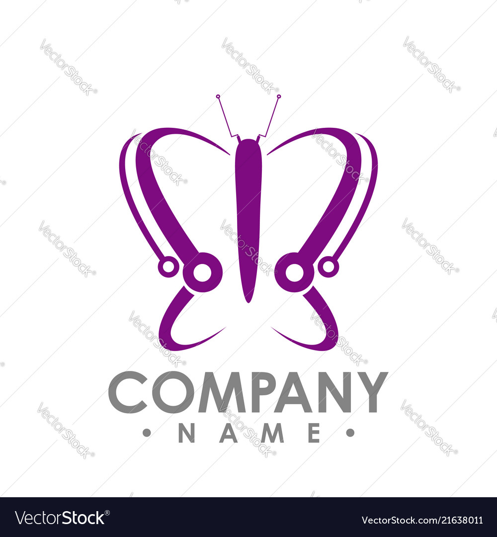 Butterfly icon in modern flat style for web