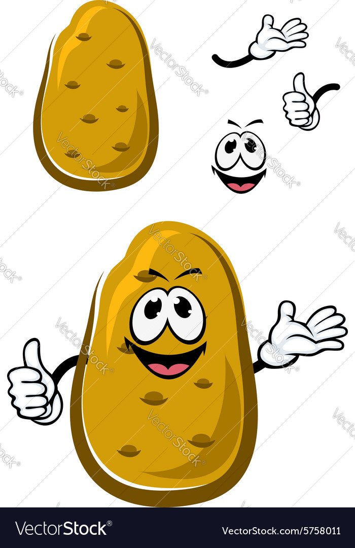 Cartoon fresh brown potato vegetable