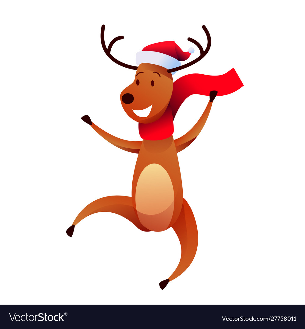 Cheerful reindeer character in santa hat