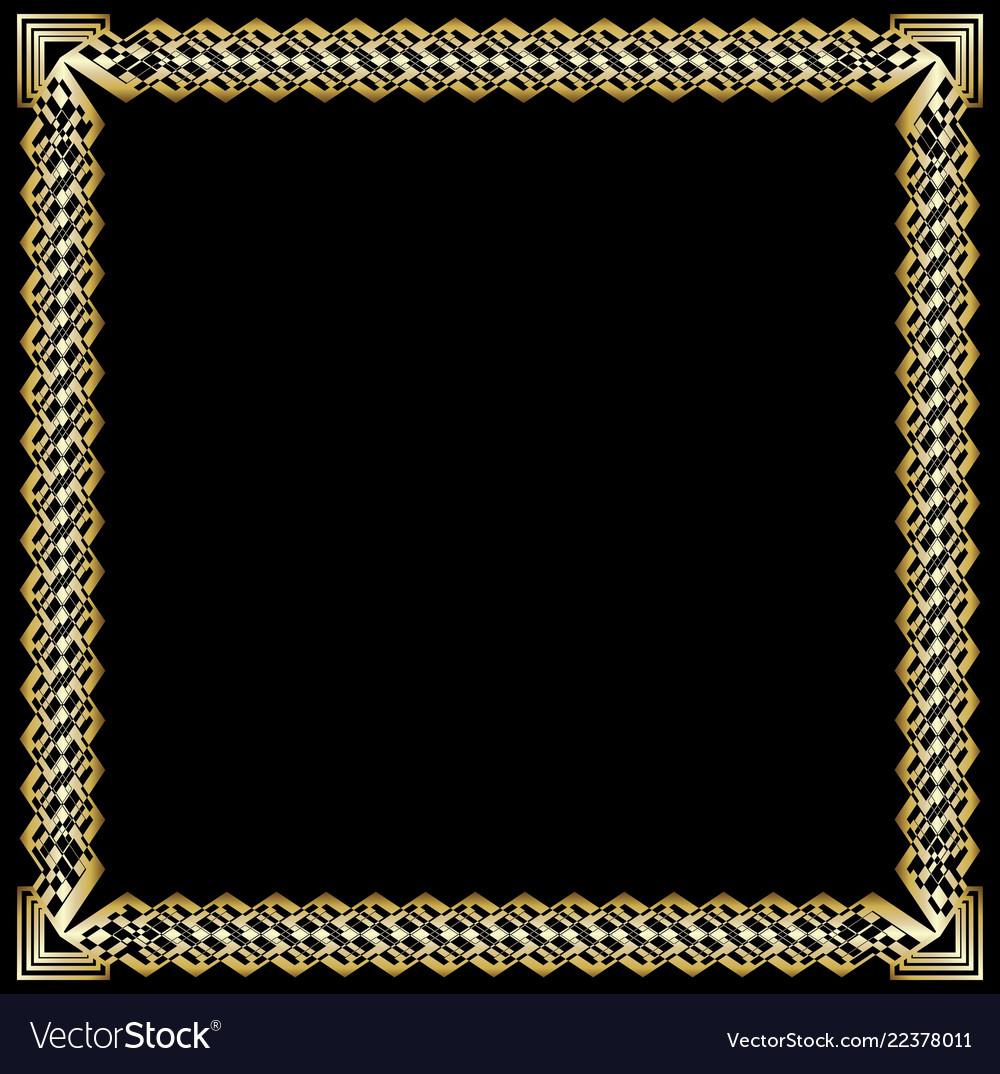 2410328b2d23 Decorative luxurious golden frame on black Vector Image