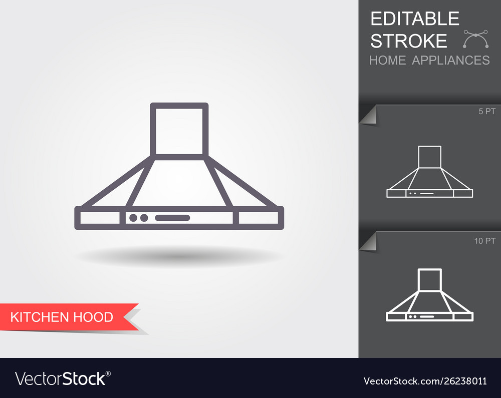 Kitchen hood line icon with editable stroke with