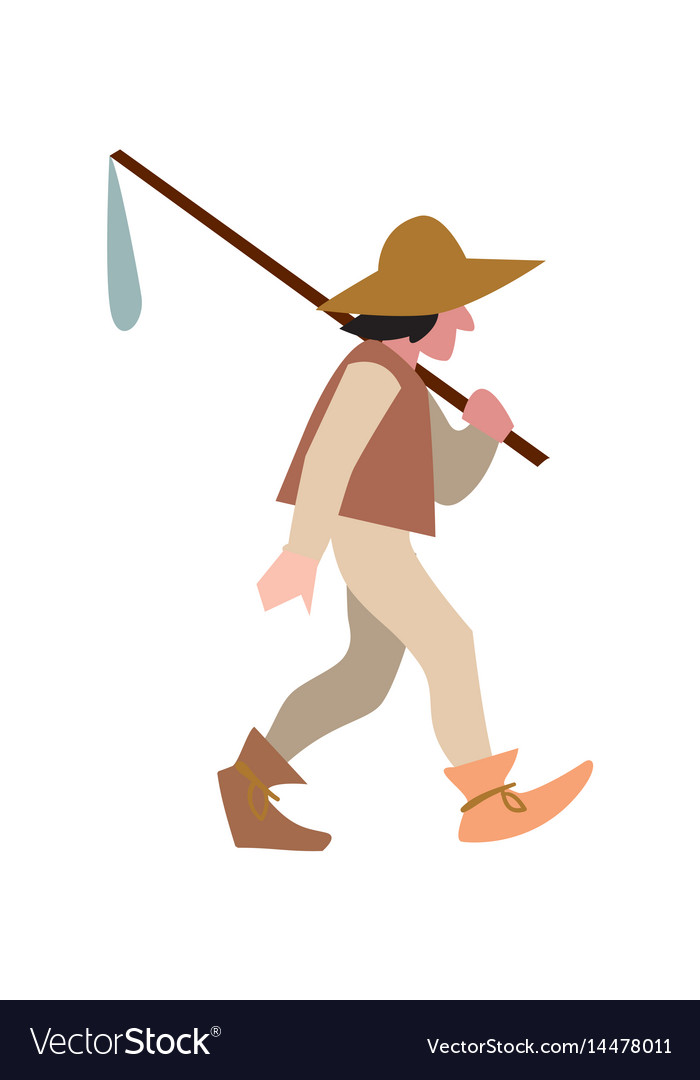 Medieval peasant in hat and with sack vector image