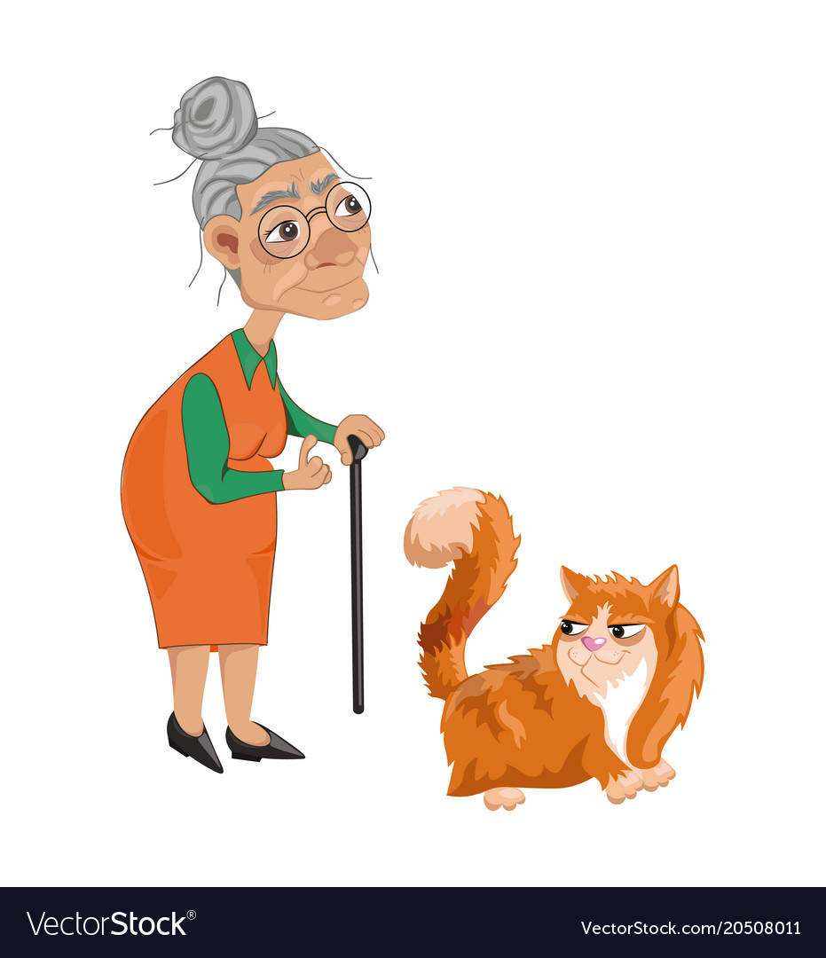 Old lady and a cat cartoon character
