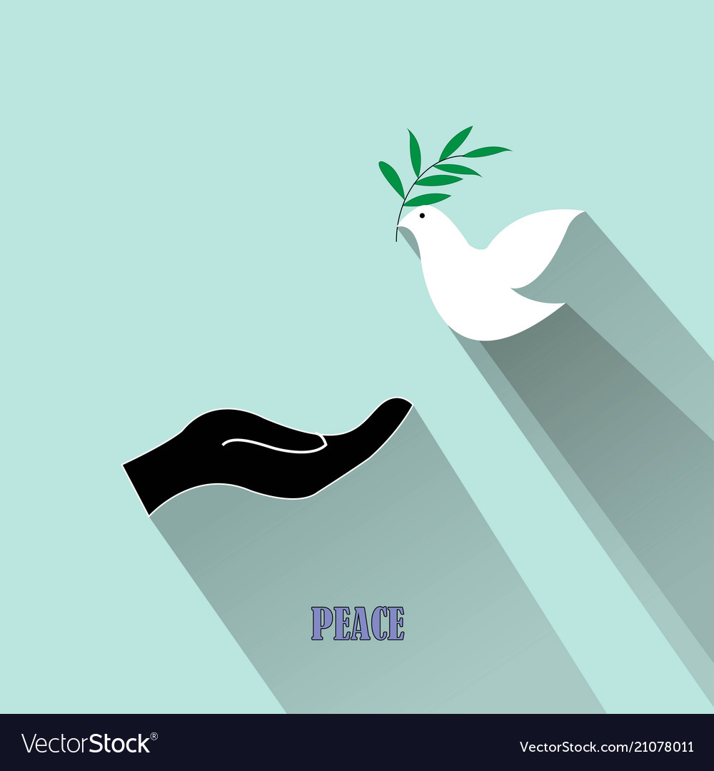 Peace dove with olive branch and black hand isolat vector image