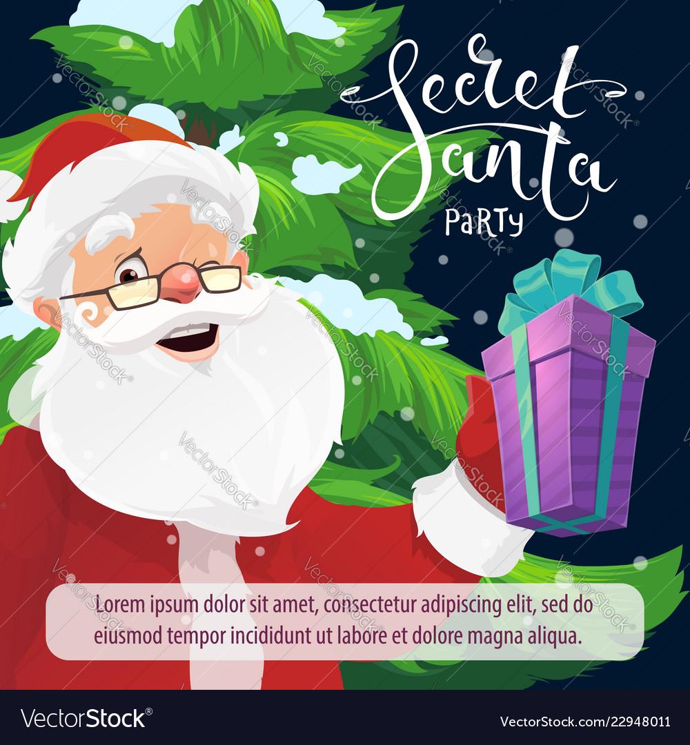 Secret santa christmas party invitation with gift